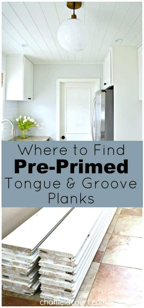 stacked pre-primed tongue and groove planks in white kitchen