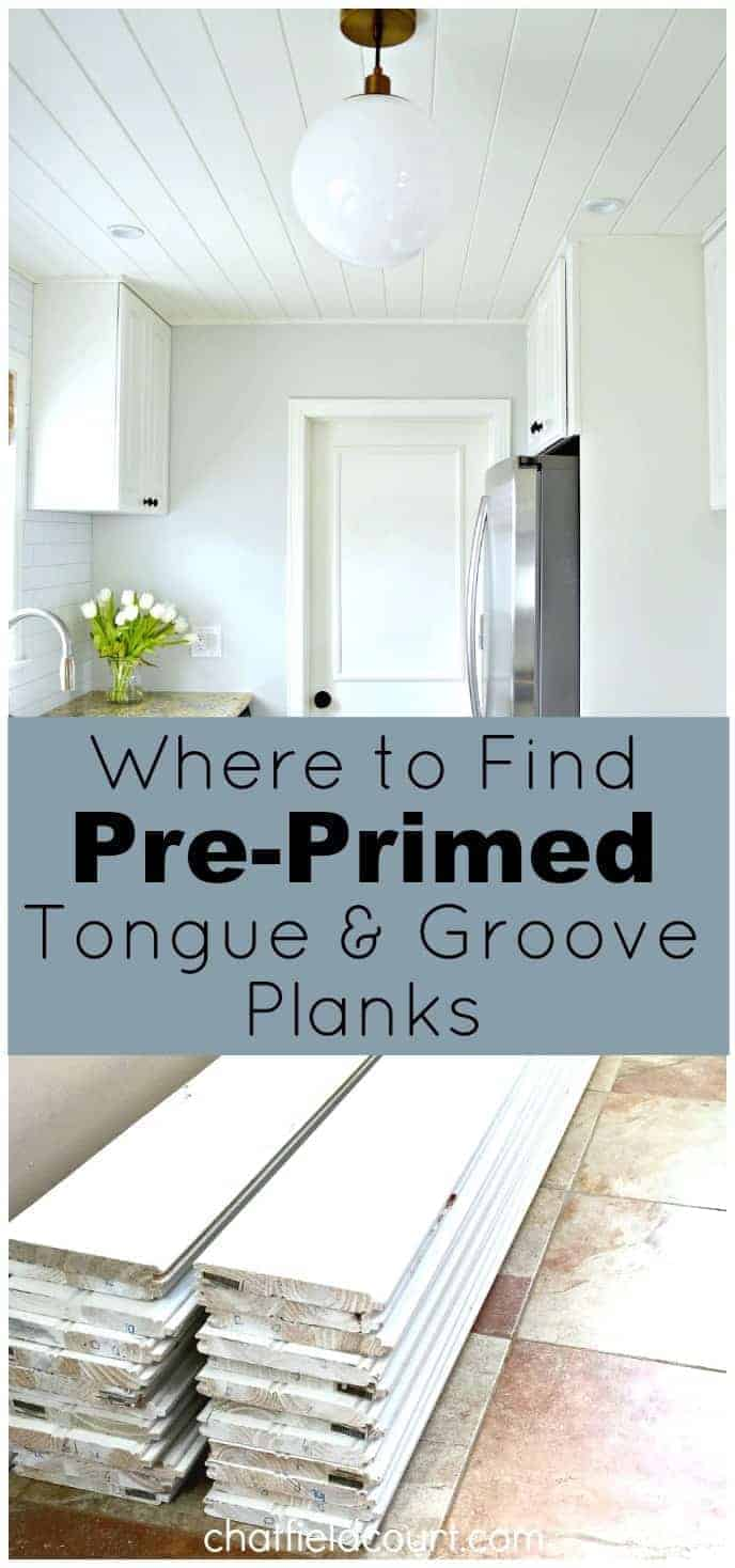 Where to find pre-primed tongue and groove planks for your DIY ceiling project, and they won't break the bank. www.chatfieldcourt.com