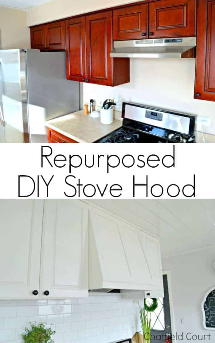 before and after of repurposed DIY stove hood