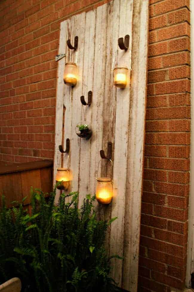 Outdoor Mason Jar Candle Barn Door | chatfieldcourt.com
