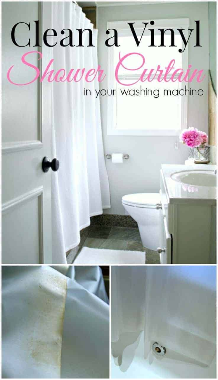Don't throw it away! Clean that dirty vinyl shower curtain quickly and easily in your washing machine. | chatfieldcourt.com