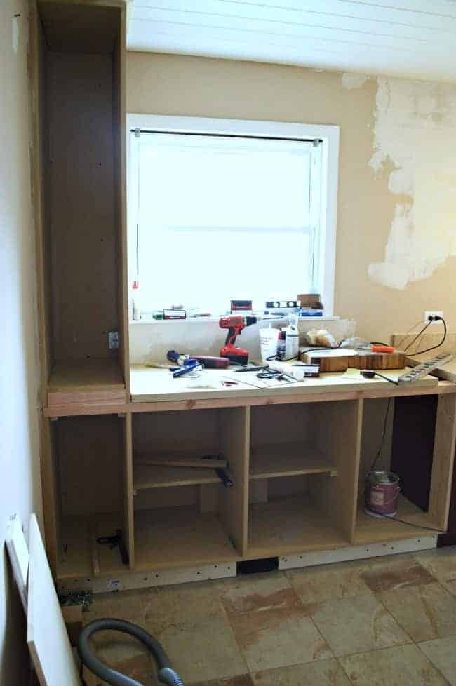 kitchen reno building a cabinet