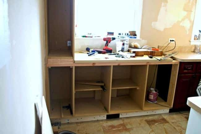framed DIY kitchen cabinet
