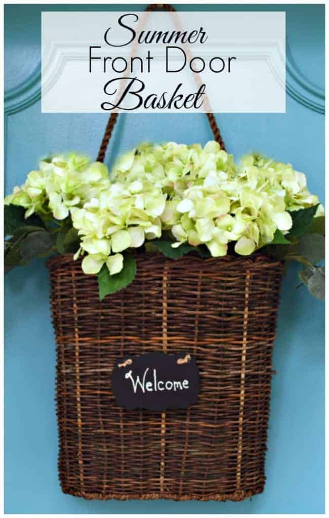 Summer front door basket filled with hydrangea | chatfieldcourt.com