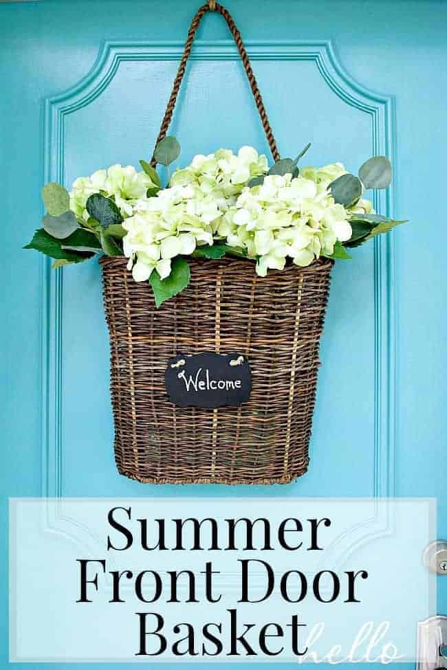 Summer front door basket filled with hydrangea