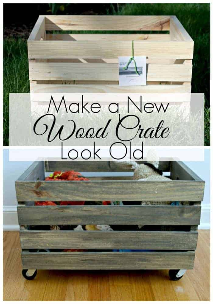 make a new wood crate look old dog toybox
