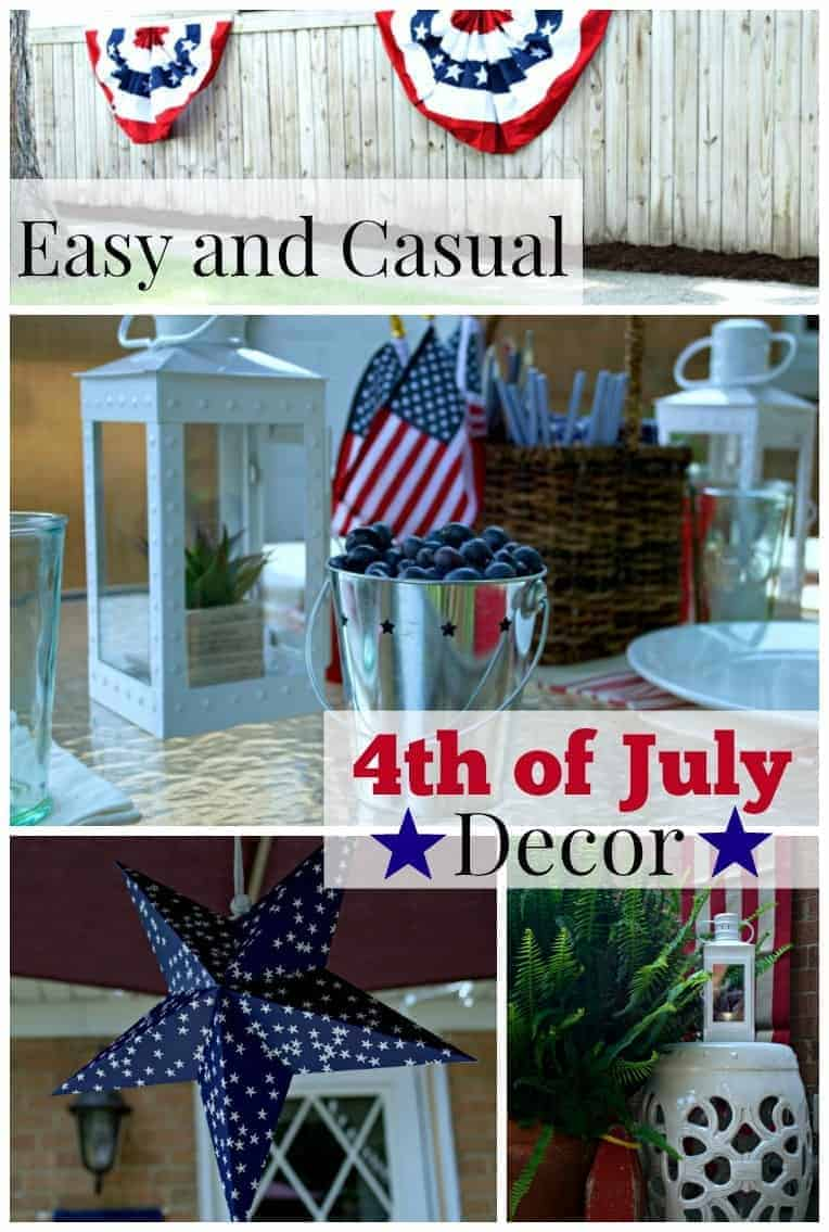 Easy and casual 4th of July decor for an outdoor deck. | chatfieldcourt.com