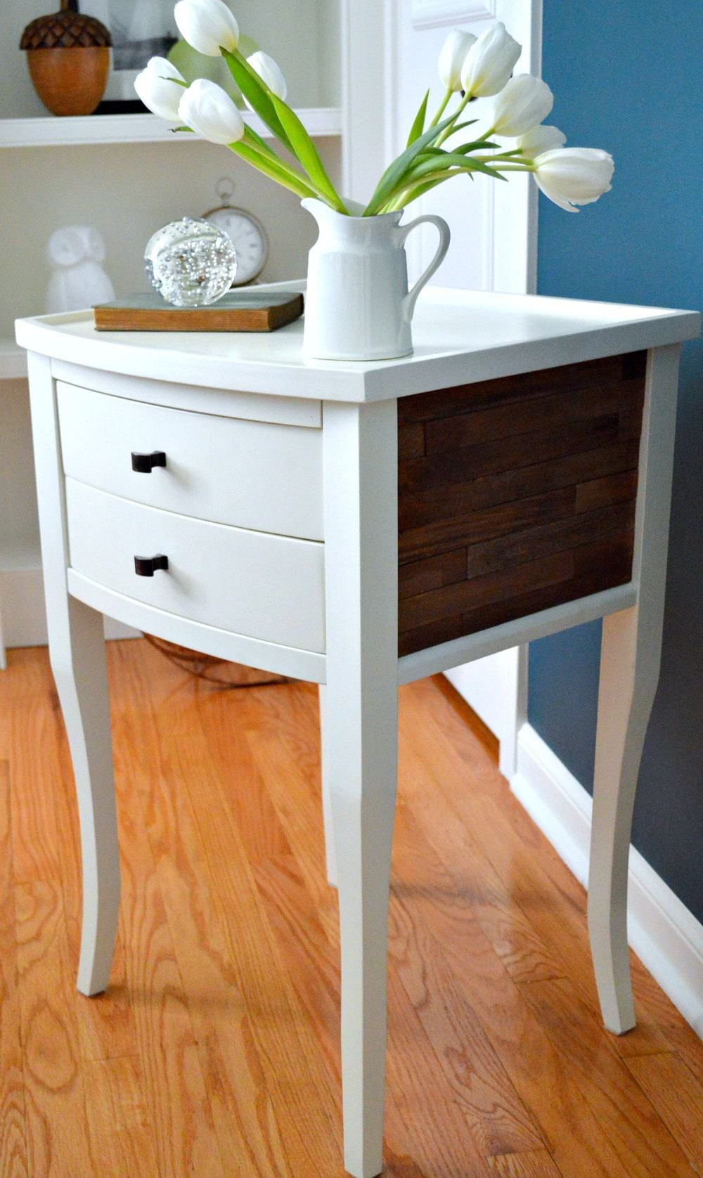 Home tour turquoise guest bedroom nightstand