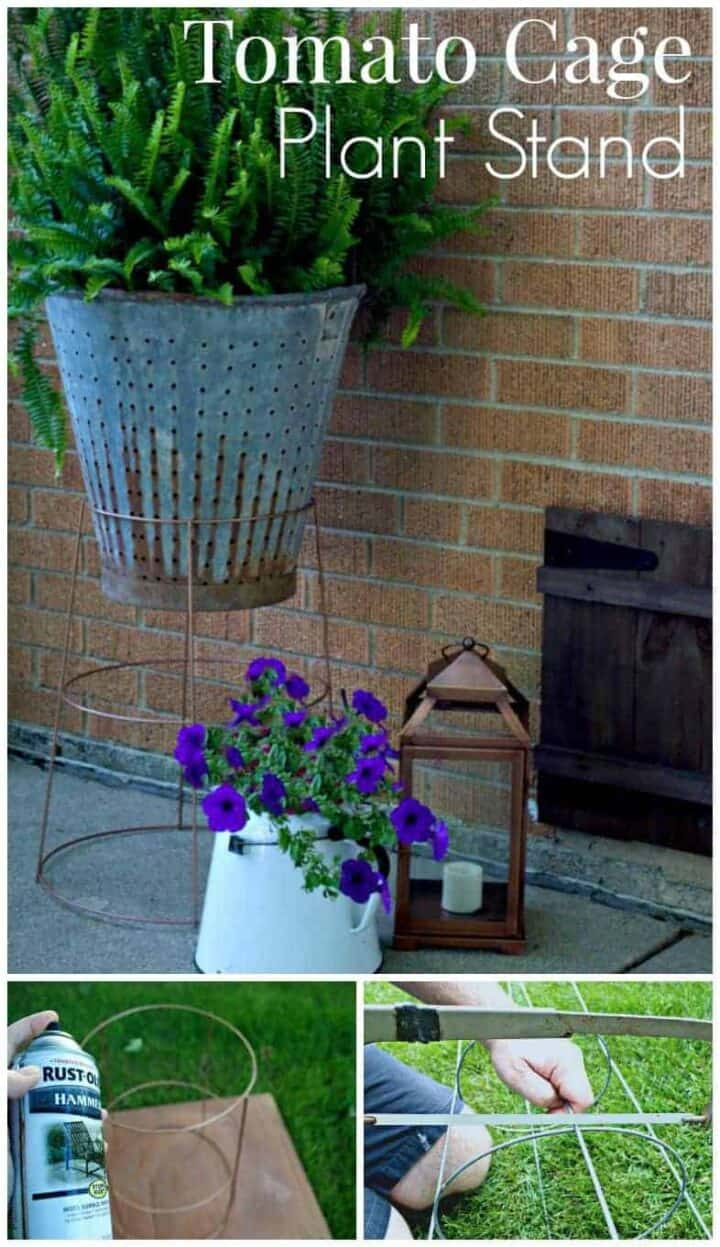 vintage olive bucket in DIY plant stand made from a tomato cage