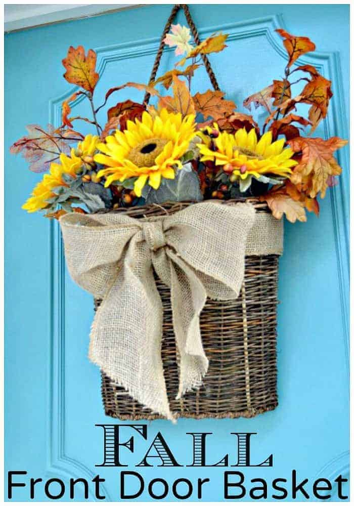 Create a fall front door basket with faux sunflowers and leaves. A quick and easy DIY.