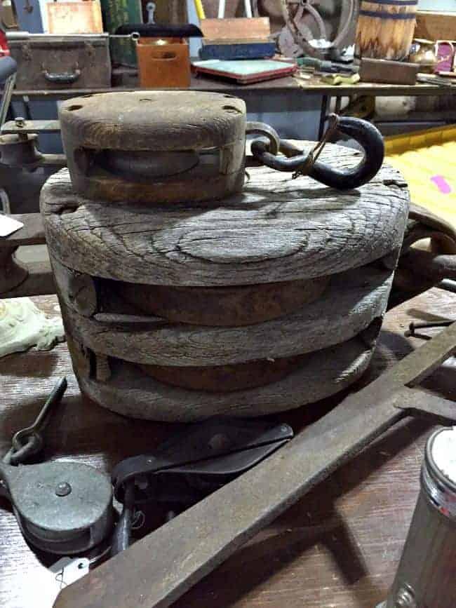 Vintage pulleys at the flea market | chatfieldcourt.com