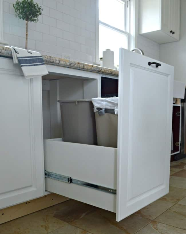 DIY pull out trash can in kitchen cabinet