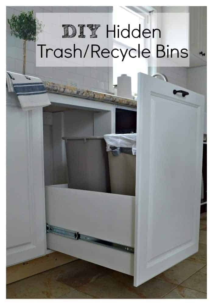 Want to hide your ugly trash can? Build this easy DIY trash drawer for the kitchen. | chatfieldcourt.com