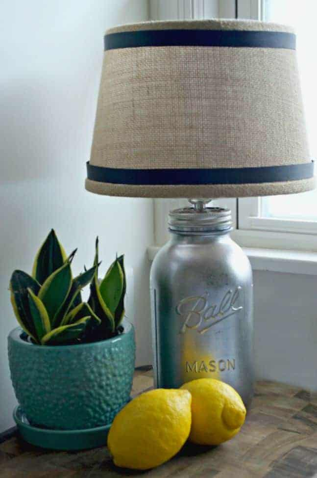DIY Mason Jar Lamp with lemons and potted plant