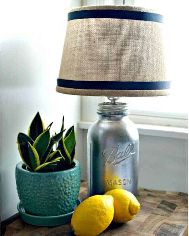 A DIY mason jar lamp for a rustic farmhouse feel in the kitchen. chatfieldcourt.com