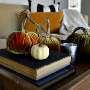 Pumpkins on books