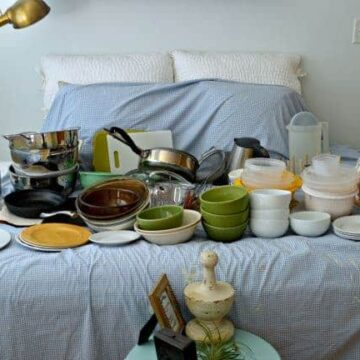 Kitchen dishes on bed