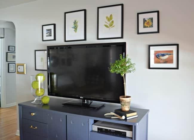 Nature inspired TV gallery wall added in a small living room | chatfieldcourt.com