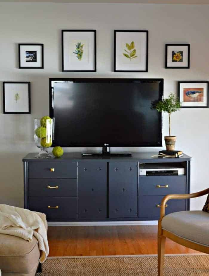 TV gallery wall using nature prints and Potterybarn frames