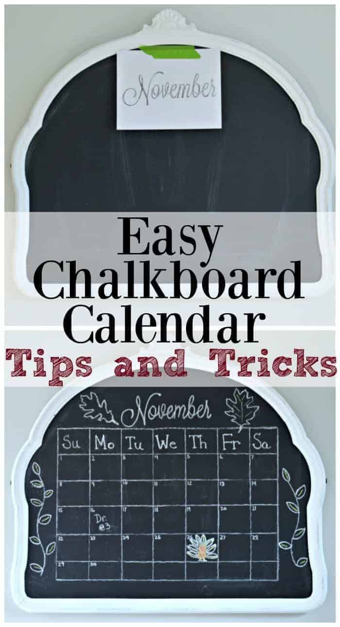 November Chalkboard Calendar Ideas : Easy chalkboard calendar tutorial