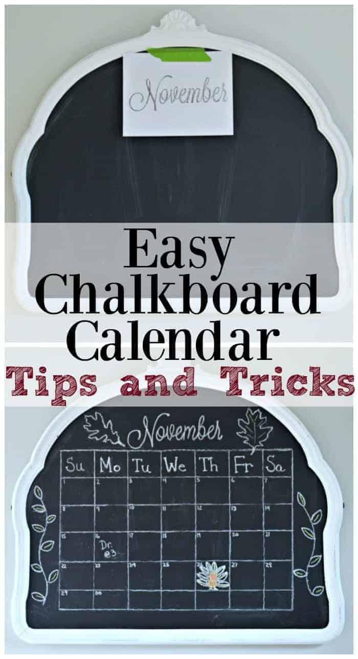 Easy Chalkboard Calendar Tutorial | chatfieldcourt.com