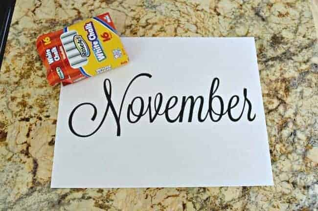 Easy chalkboard calendar printed month and box of chalk | chatfieldcourt.com