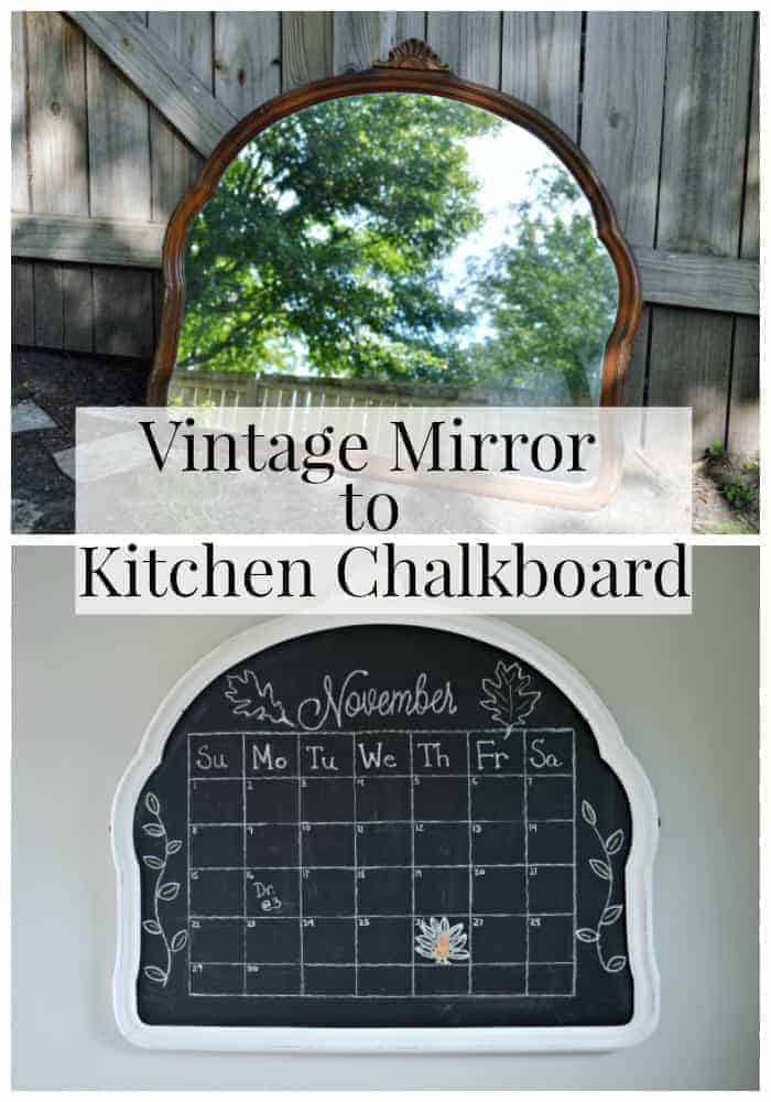 vintage mirror and kitchen chalkboard with large graphic over the top