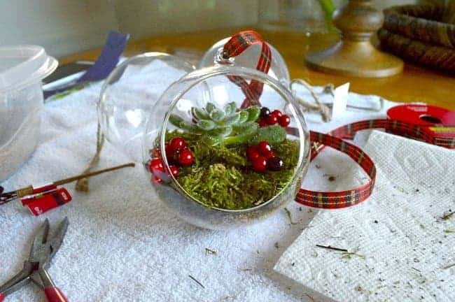 DIY Christmas ornaments complete with faux berries and ribbon| chafieldcourt.com