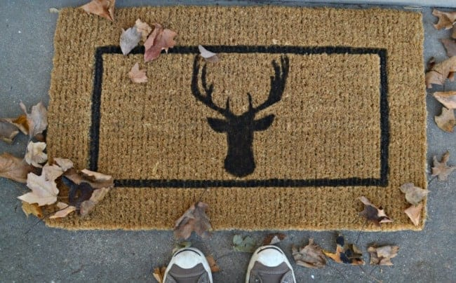 DIY deer head doormat painted and on the front porch. | chatfieldcourt.com