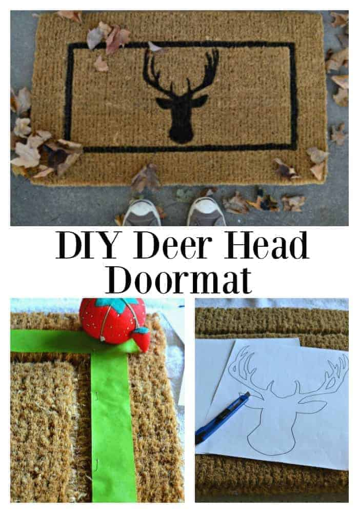 DIY deer head doormat for the front porch. So easy to do. | chatfieldcourt.com