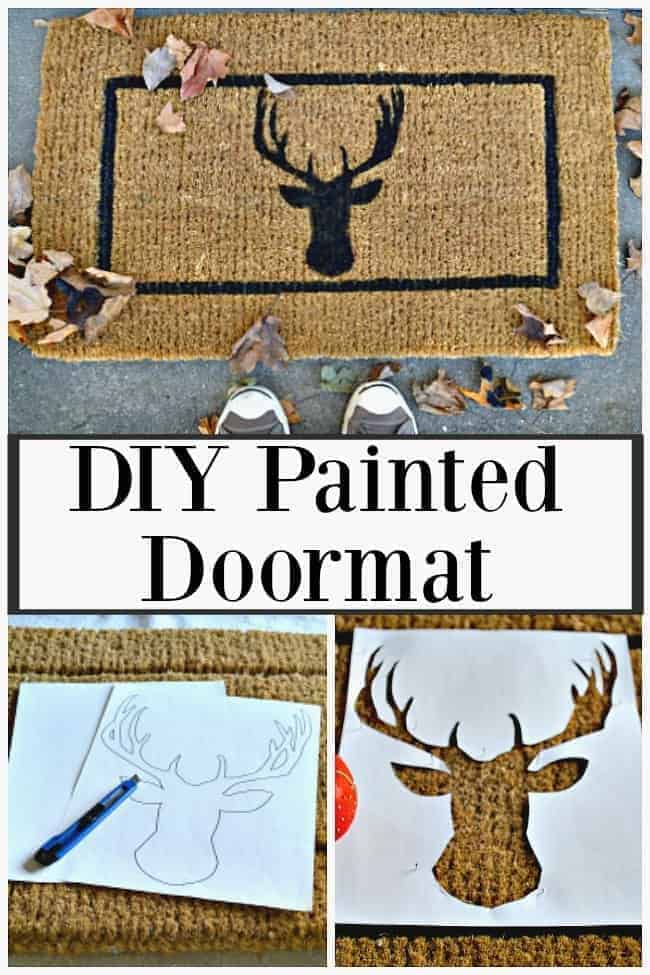 A collage with a finished DIY deer head doormat, a stencil on a door mat and a deer head stencil cut out of paper