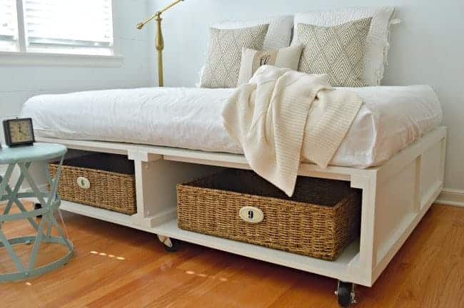 Tips for shopping at HomeGoods. Turquoise table used as a nightstand. | www.chatfieldcourt.com
