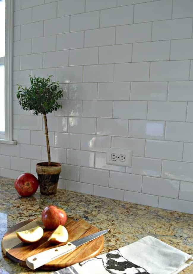 Kitchen Reno Update: Subway Tile Backsplash and warm gray grout on window wall  chatfieldcourt.com