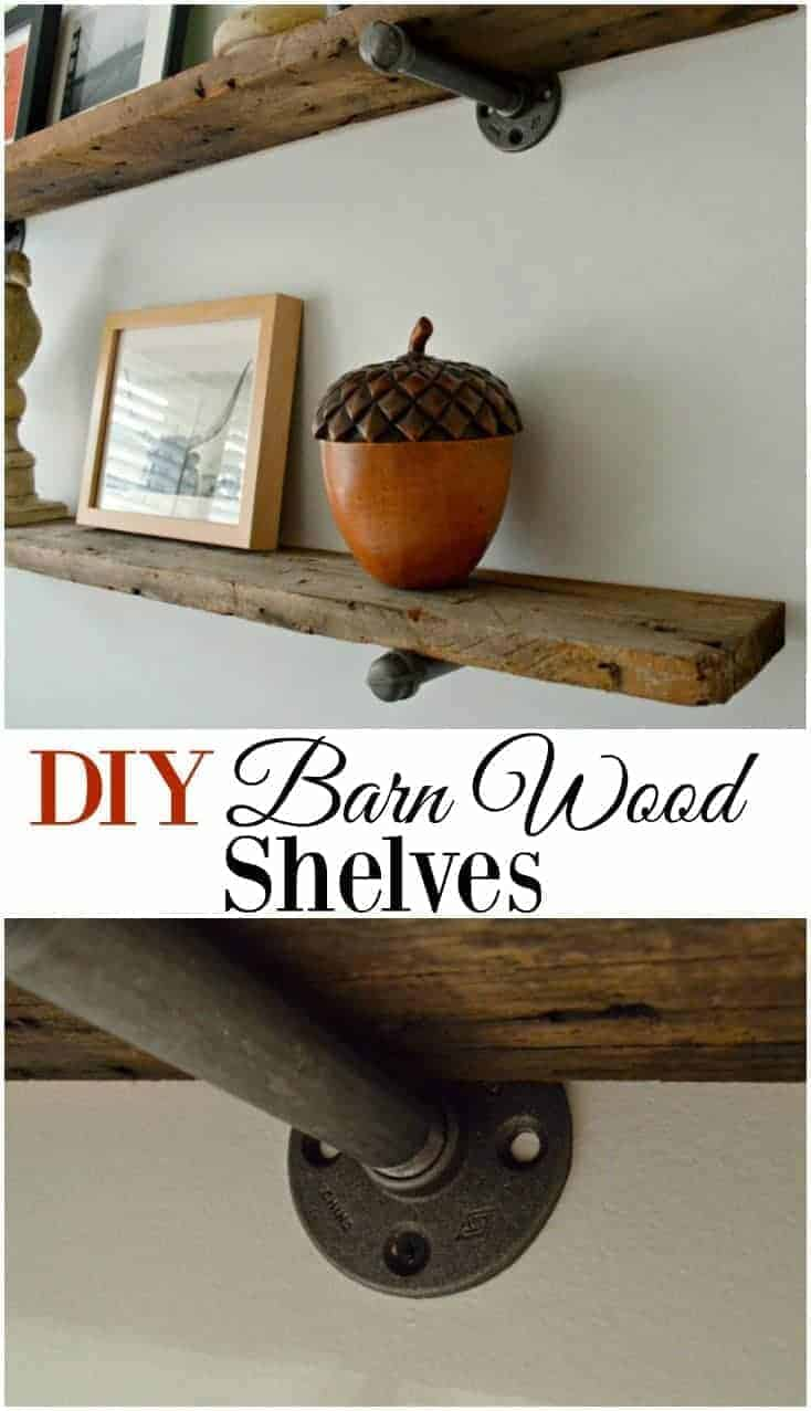 Rustic barn wood shelves for any room in your house. A cheap and easy DIY project that would look great with industrial and farmhouse decor. www.chatfieldcourt.com