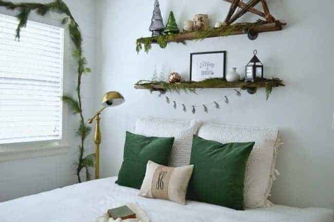 Christmas in the guest bedroom using green velvet on the bed and fresh greens | chatfieldcourt.com