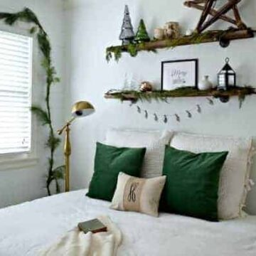 A bedroom decorated for Christmas