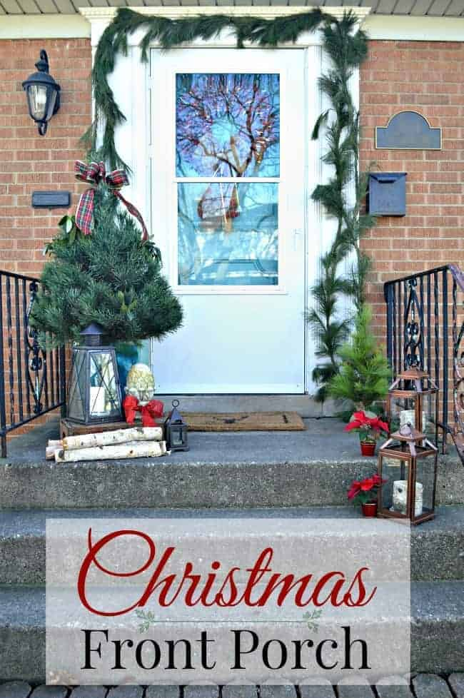 Christmas on our small front porch, which is decorated with greens and a live mini Christmas tree | www.chatfieldcourt.com
