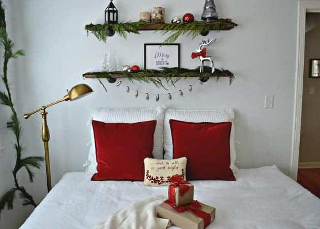 Christmas in the guest bedroom with red velvet and fresh greens | chatfieldcourt.com
