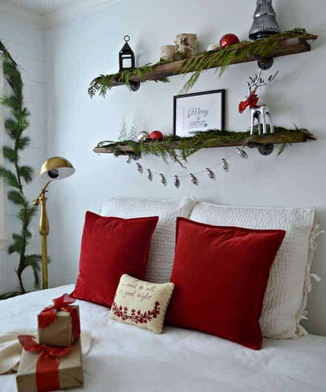 Christmas in the guest bedroom using red velvet and fresh greens | chatfieldcourt.com