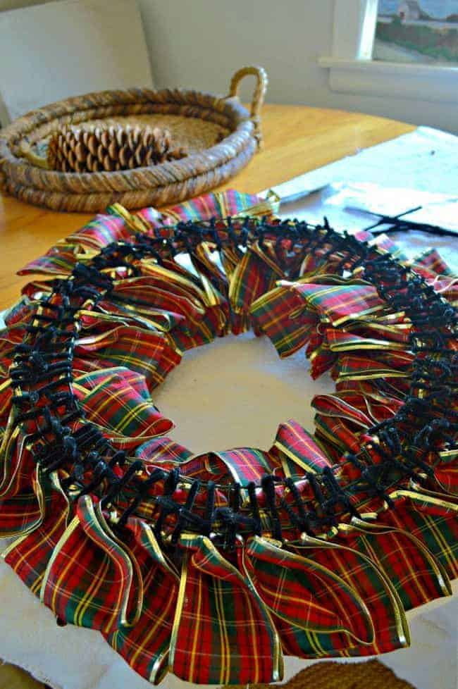back of DIY ribbon wreath with pipe cleaners