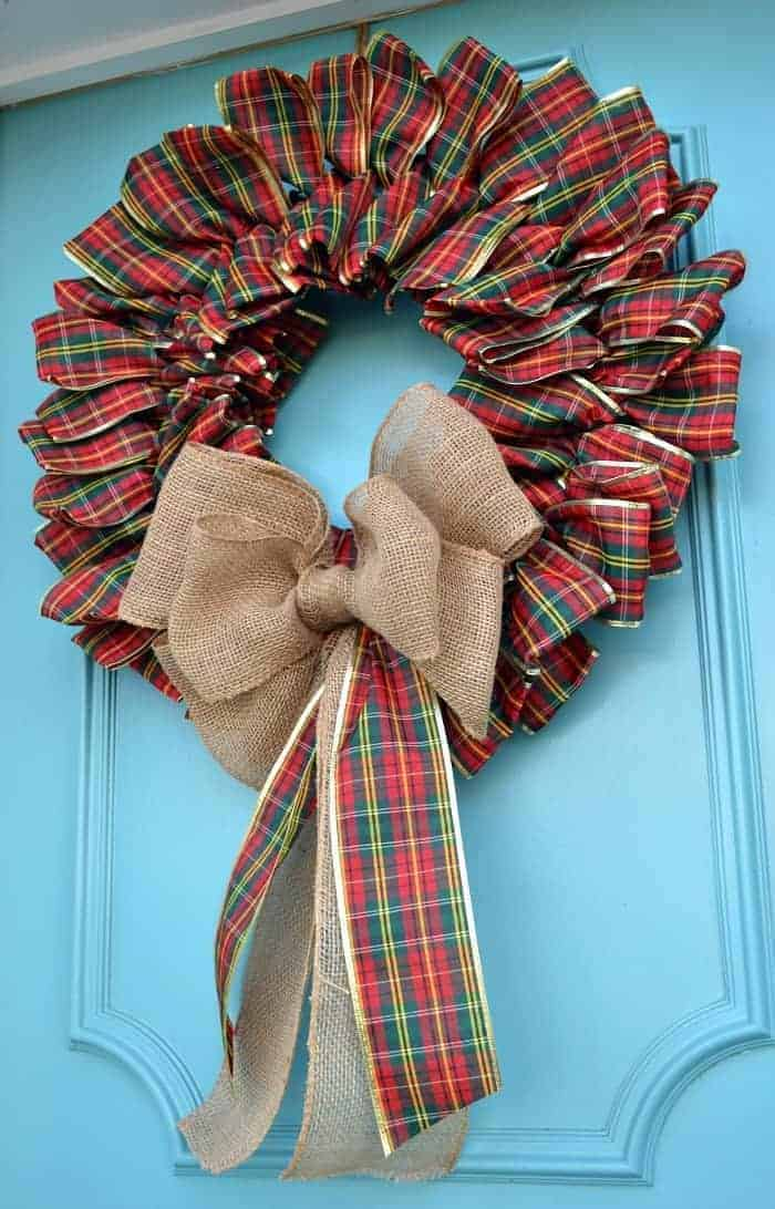 How to make a Christmas ribbon wreath with plaid ribbon for your front door | chatfieldcourt.com