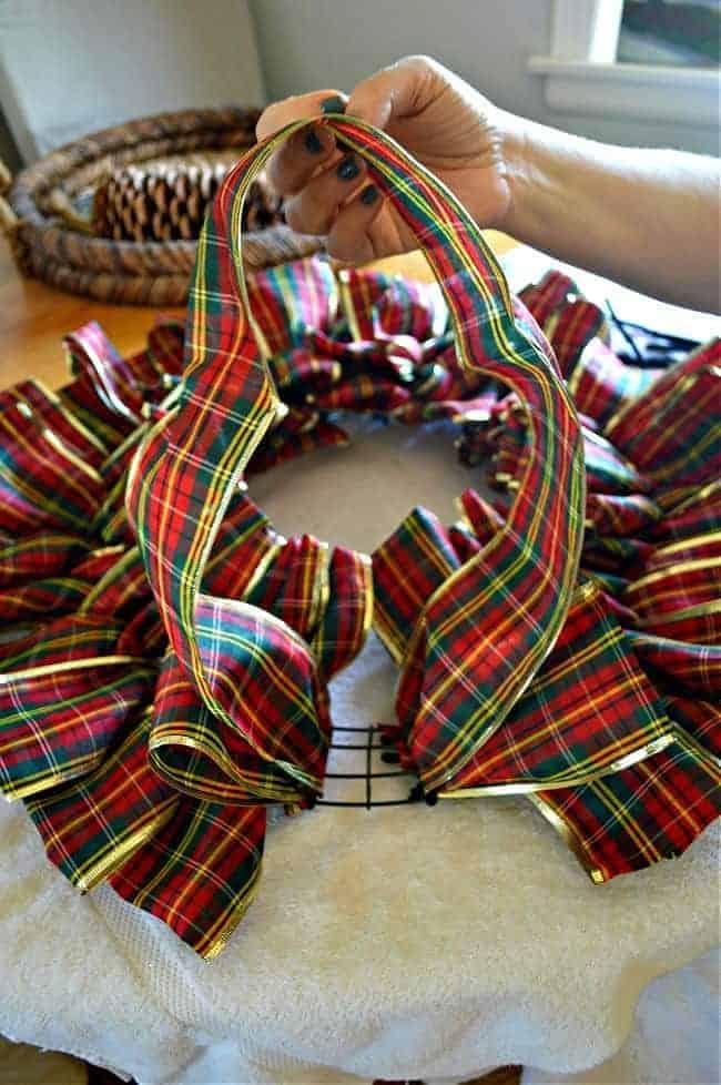 pulling loop on DIY ribbon wreath