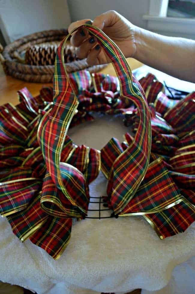 Make a ribbon wreath with pipe cleaners and plaid ribbon | chatfieldcourt.com