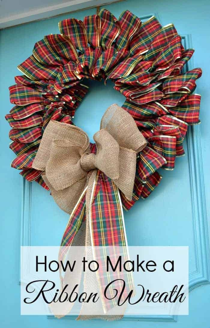 How to make a ribbon wreath for your front door for Christmas | chatfieldcourt.com