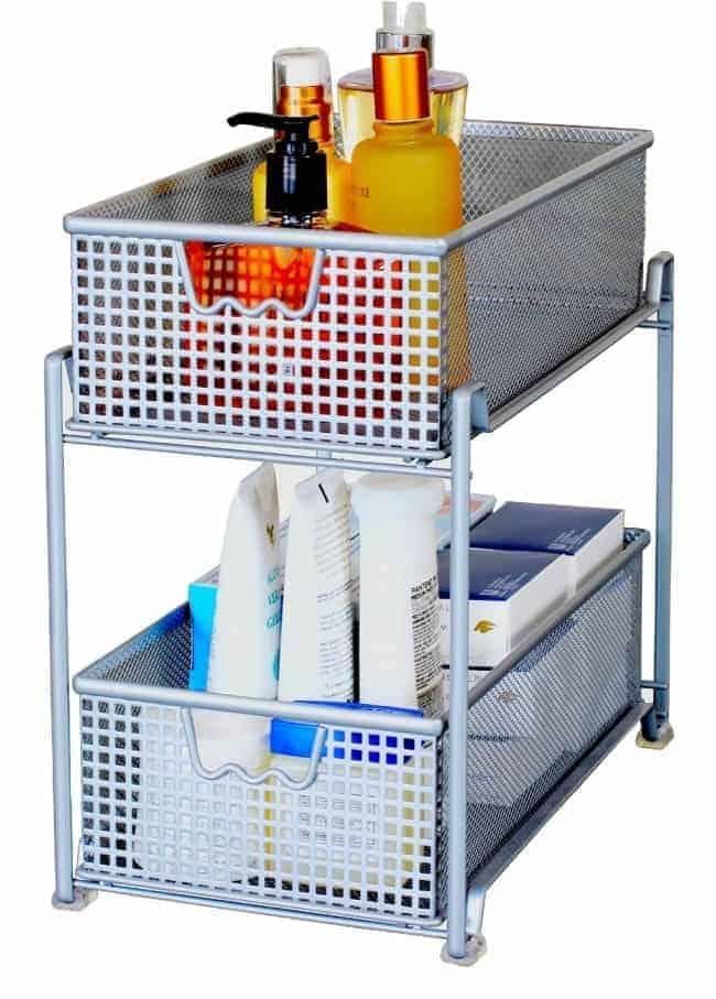 bathroom toiletries in metal storage drawers