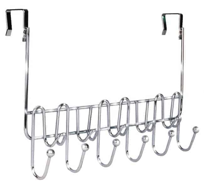 An over the door rack can help with bathroom organization