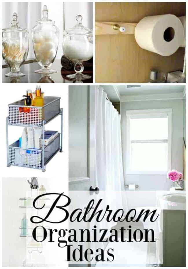 collage with different storage and organization ideas for a bathroom
