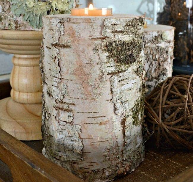 These rustic wood candleholders, made from birch, are an easy DIY and they can hold a taper candle and a tea light. | chatfieldcourt.com