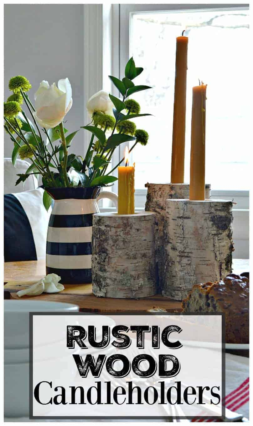 These rustic wood candleholders are an easy DIY. They are made from a birch log and can hold a tea light and a taper candle. | www.chatfieldcourt.com