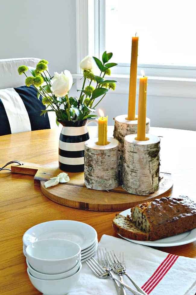 These rustic wood candleholders, made from birch, are an easy DIY and they can hold a taper and a tea light. | chatfieldcourt.com